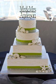 Wedding Cake # green # rhinestones # chocolate shells # ivory square and round.