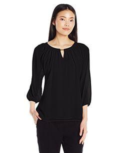 Calvin Klein Women's 3/4 Sleeve Top W/ Bar Hardware, Blac-$79.50