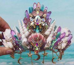 Mermaid Crown, Mermaid Headpiece, Mermaid Outfit, Mermaid Jewelry, Mermaid Tails, Crystal Crown, Bridal Crown, Mermaid Birthday, Fantasy Jewelry