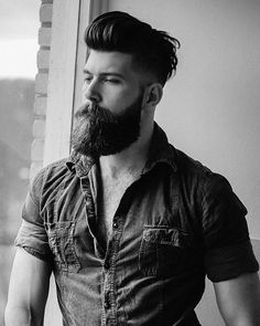 Black and white. Visit www.beardsaresexy.com to be featured Choose your hairstyle @Sexyhairstylemen™ Check out our clothing line @Beardsaresexyshop™ Model: @fracrox Mais