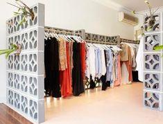 Super Ideas For Bedroom Wall Decor Ideas Curtain Rods Cinder Block Furniture, Cinder Block Walls, Cinder Blocks, Diy Casa, Concrete Blocks, Bedroom Wall, Bedroom Decor, Wall Decor, Home Organization