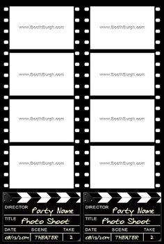 Filmstrip And Clapper Board Photo Booth Printer Template Buyer Will Get Both PNG PSD