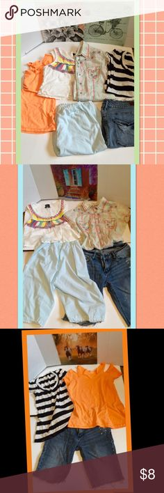 Clothing lot 6 items of clothing sz m Great clothing lot of 6 items for a low price!! Denim Jean cut off shorts, cotton light blue burned a cropped shorts ruffled hem, striped t and neon orange cold shoulder cut out t, cute white style embroidered crop top all good condition, 1 boho style embroidered blue, red and off white cotton button up shirt, gently pre owned minor wear and size s/m Tops Tees - Short Sleeve