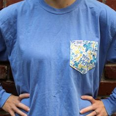Kappa Kappa Gamma Long Sleeve Tee Shirt in Florescent Blue with Pattern Pocket by the Frat Collection