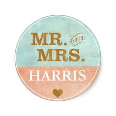 Coral, Gold, Mint Wedding Sticker