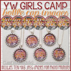 """YW CAMP CRAFT, YW Camp Certification Level Bottle Caps - make them up as gifts and let the girls wear them all week! Also comes with """"LEVEL"""" images! #mycomputerismycanvas"""