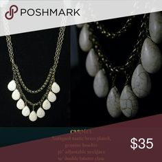"""Premier Designs Carmel necklace Antiqued matte brass plated, genuine howlite 36"""" adjustable necklace with double lobster claw Premier Designs Jewelry Necklaces"""