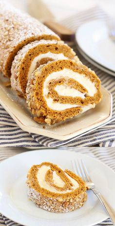 Pumpkin Roll – topped with walnuts with sweet cream cheese filling. This is the best and easiest pumpkin roll recipe ever, so decadent! | rasamalaysia.com:
