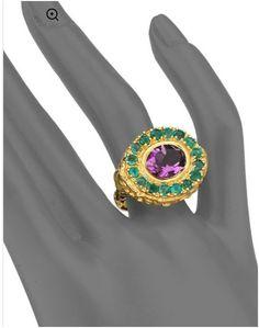 Jade Jagger Amethyst & Emerald Skull Cocktail Ring