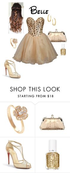 """Disney Prom - Belle"" by briony-jae ❤ liked on Polyvore featuring Christian Louboutin, Essie and Argento Vivo"