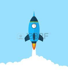 Illustrazione piatta icona del razzo con stile lungo ombra, concetto di avvio…