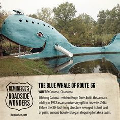 Road Trip America: Blue Whale of Route 66 in Catoosa, Oklahoma (c/o Reminisce magazine)