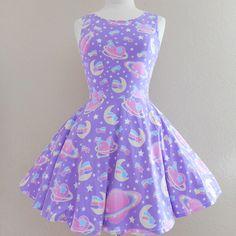 Saturn's wish purple skater dress made to order - Thumbnail 4