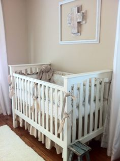 Our crib is from Pottery Barn Kids and the bedding is from PolkaTotDesigns.com