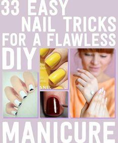 33 Easy Nail Hacks For A Flawless DIY Manicure #ManicureDIY