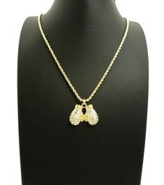 """NEW ICED OUT BOXING GLOVES PENDANT & 24"""" ROPE CHAIN HIP HOP NECKLACE"""