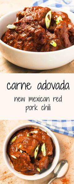 New Mexican Red Pork Chili Carne Adovada Recipe Carne Adovada Spicy Recipes, Chili Recipes, Mexican Food Recipes, Cooking Recipes, Healthy Recipes, Healthy Eats, Fodmap, Adovada Recipe, Dinner Party Main Course