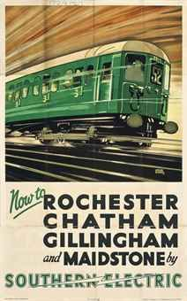 Now to Rochester, Chatham, Gillingham and Maidstone by Southern Railway ~ Leslie Carr Posters Uk, Train Posters, Railway Posters, Art Deco Posters, Poster Ads, Kent Travel, Chatham Kent, Southern Railways, Train Art