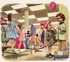 """Martine fait ses courses"": Illustrations by Marcel Marlier (1930 – 2011, Belgian)"