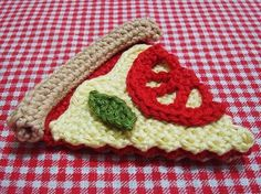 She Crocheted A No-Calorie Pizza Slice – Genius! Crochet Fruit, Crochet Food, Crochet Kitchen, Love Crochet, Learn To Crochet, Crochet Flowers, Crochet Baby, Knit Crochet, Crochet Toys Patterns