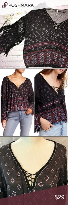 7b218f2a027d Free People - Macra Mace Me Blouse Excellent used condition Boho Blouse  with fringe details Elastic