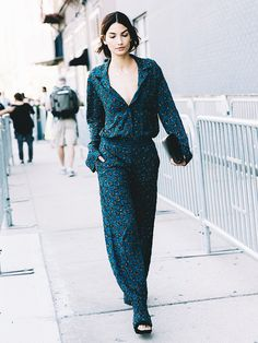 Lily Aldridge wears a printed matching set with black accessories