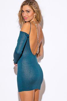 Cute cheap teal blue metallic backless chain bejeweled one shoulder long sleeve fitted club mini dress