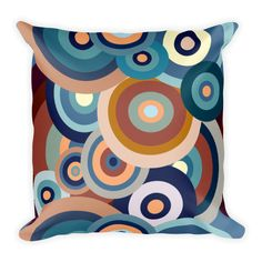 Teal Accents, Blue Square, Soft Pillows, Designer Throw Pillows, Classic Beauty, Blue Orange, Circles, Hand Sewing, Choices