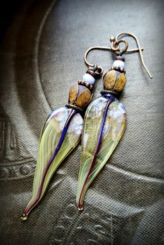 Lampwork Headpins, Lampwork Glass, Sea Glass, Vintage Jewlery, Flowers, Earthy, Organic, Rustic, Beaded Earring by YuccaBloom on Etsy