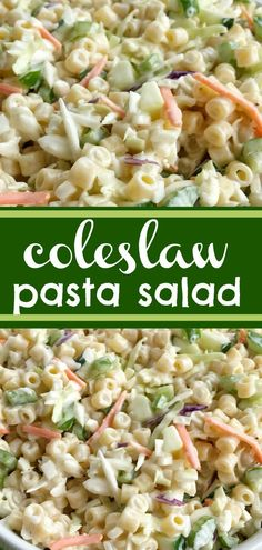 Coleslaw Pasta Salad | Pasta Salad | Side Dish | Coleslaw pasta salad is a fun twist to traditional pasta salad. Loaded with texture, taste, and fabulous crunch. This is the perfect side dish for a summer bbq, picnic, or potluck! It can be made ahead of time too. #pastasalad #sidedish #saladrecipes #bbq #pastasaladrecipes Side Dishes For Bbq, Lobster Side Dishes, Sides For Bbq, Camping Side Dishes, Greek Side Dishes, Side Dish Recipes, Grilled Side Dishes, Picnic Side Dishes, Pasta Side Dishes