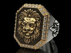 a large ring with a lion and an all-seeing eye model stl 1 Unique Mens Rings, Mens Gold Rings, Rings For Men, Mens Ring Designs, Gold Ring Designs, Diamond Wedding Rings, Wedding Ring Bands, Men's Jewelry Rings, Jewellery