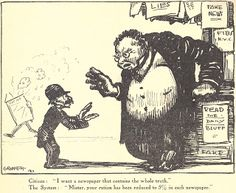 A Man of Family: Liberator Magazine Art, Oct 1918, pg 41, artist: GROPPER 1917, political cartoon satire about the printed media