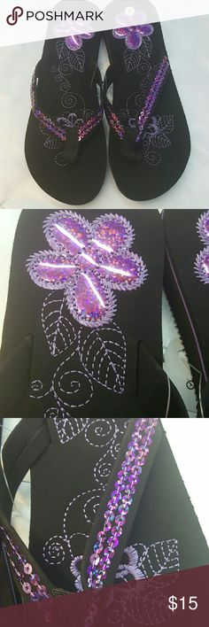 Floral Flip Flop Floral beach flip flop with sequin AFB Shoes Sandals
