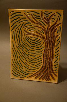 ceramic relief, handmade, tree
