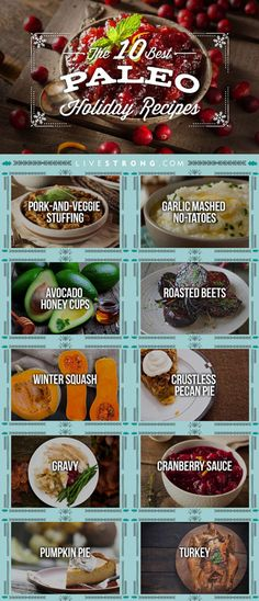 10 recipes to make your favorite holiday foods Paleo and free of grains and overly processed foods: stuffing, gravy, cranberry sauce, pumpkin pie + more: http://www.livestrong.com/slideshow/1008856-paleo-holiday-recipes