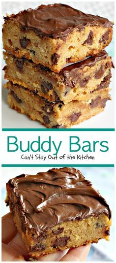 Buddy Bars are a delicious peanut butter bar with chocolate chips in the cookie and chocolate chips melted and smoothed over top. Quick, easy, economical!