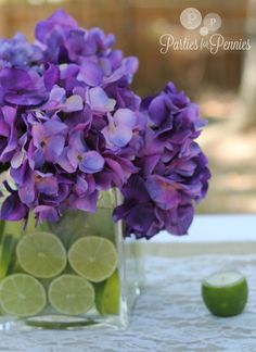 Purple hydrangeas and limes