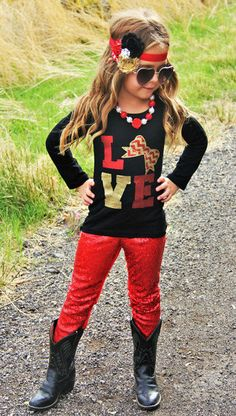 "Christmas ""LOVE"" Red Gold Glitter Sequin Long Sleeve Outfit, Abigail Jade Collection by AbigailJadeBoutique on Etsy"