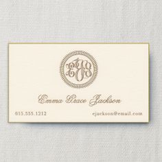 Gilded Age Engraved Monogram Ecru Calling Card with Bevel Edge: Classically exquisite, a monogram in gold is engraved on an ecru card, beveled in gold - making it the perfect choice for socializing at the Plaza. Monogrammed Stationery, Vintage Monogram, Fine Paper, Gilded Age, Calling Cards, Note Cards, Notes, Place Card Holders, Writing