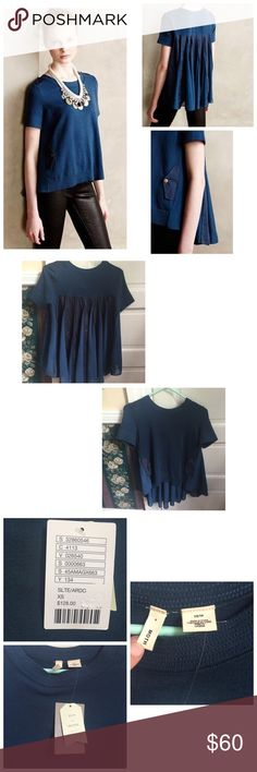 Anthropologie Moth Backstory Pullover Top • NWT • never worn • no rips, tears, holes, or stains • smoke-free home • pleat back with chiffon and strips of other material • very beautiful • very artistic and detailed top! Anthropologie Tops