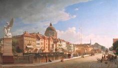 Eduard Gaertner - Ansicht der Rückfront der Häuser an der Schloßfreiheit