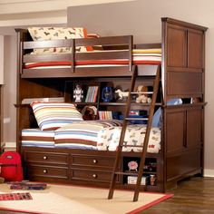 Bedroom How to Scheme a Likeable Bedroom that Swell with Your Daughter: Engaging Kids Room Designs Stunning Classic Wooden Bunk Beds With Cool Bookcase Storage Unit Underneath Cool Kids Bedroom Space Saving Ideas Loft Bed And Bunk Beds With Closet And Hidden Storage Unit