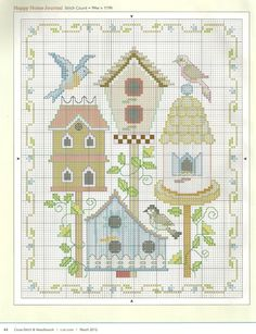 free cross stitch sampler of birds and cute birdhouses Gallery.ru / Фото #30 - 977 - Yra3raza