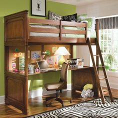 We love the elegant sculpted accent lines and rich Louis Philippe curves of the Elite Classics Loft Bed. It lifts your choice of twin or full bed birds-eye high so your teen can build a cozy nest in the space underneath. Fill that space with optional second bed or matching desk or just leave it open and airy. A wood slat mattress support eliminates the need for box springs allowing extra headroom. Climb up on the matching hardwood ladder and slee