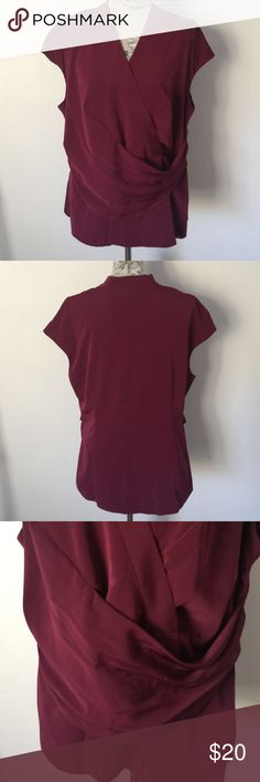 "Worthington Cranberry V Top 1X Excellent condition. Has snap in V so won't gap. Has material sash in front. Hides tummy. Zips side bottom. Front under arm side to side 23"". 100% polyester. Worthington Tops Blouses"