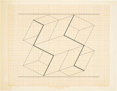 """Joseph Albers lithograph /""""Constellation/"""" on graph paper grid"""