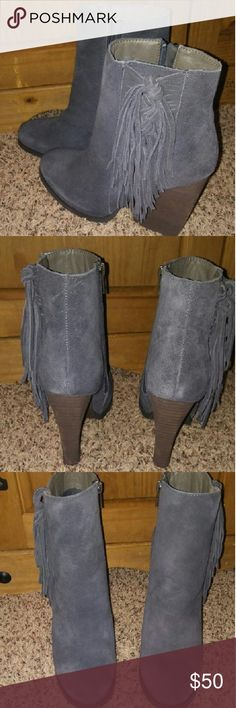 Very Volatile gray leather booties size 10. New! New Very Volatile gray leather booties size 10. Super cute with fringe on the side and leather all over. Would fit a wider foot and maybe a size 10.5. The heel was too tall for me to wear at school all day. Smoke free home. Bundle and save $! Very Volatile Shoes Ankle Boots & Booties