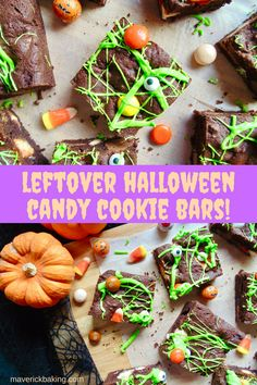 Chocolate Halloween Candy Cookie Bars; do you have a ton of leftover Halloween candy and chocolates lying around? Bake it into these soft and chewy chocolate cookie bars!