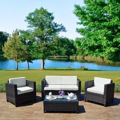 Grey Rattan Garden Furniture Sofa Set Outdoor Chair