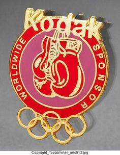 Badge Pin Olympic Multi Games Kodak Worldwide Sponsor Sport of Boxing Gloves Tim